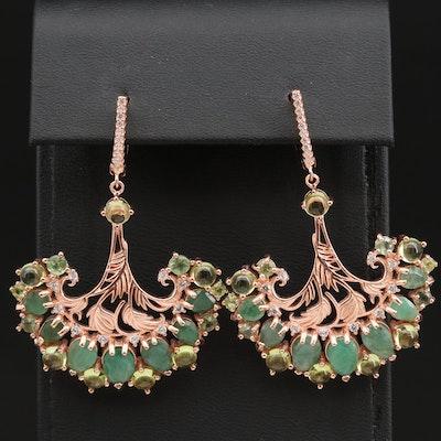 Sterling Silver Emerald, Peridot and Sapphire Foliate Fan Motif Dangle Earrings