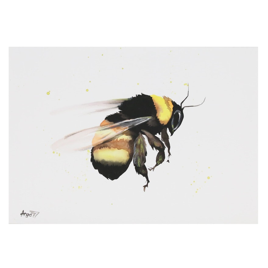 Anne Gorywine Watercolor Painting of Bee in Flight, 2020