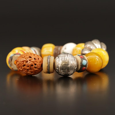 Tribal Style Glass and Stone Beaded Expandable Bracelet