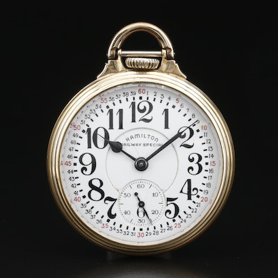 1945 Hamilton Railway Special Gold Filled Open Face Pocket Watch