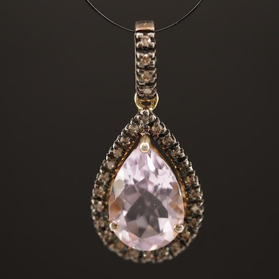Sterling Amethyst and Diamond Teardrop Pendant