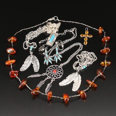 Necklaces, Earrings and Cross Pendant Featuring Dream Catcher and Feather Motifs