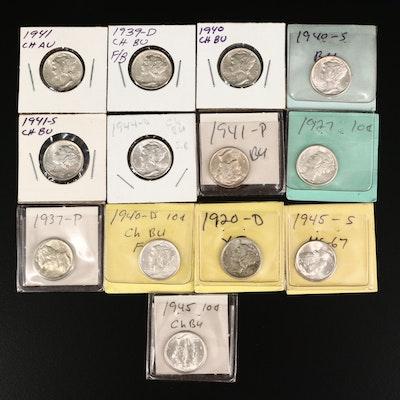 Thirteen Mercury Silver Dimes