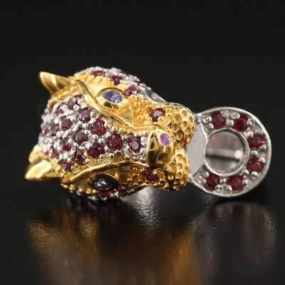 Sterling Garnet, Tanzanite and Ruby Leopard Head Ring