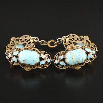 Art Nouveau Art Glass and Enamel Floral Panel Bracelet