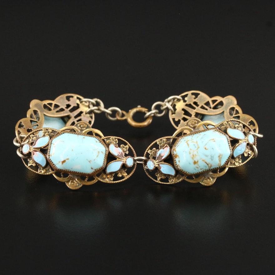 Art Nouveau Art Glass and Enamel Floral Panel Bracelet