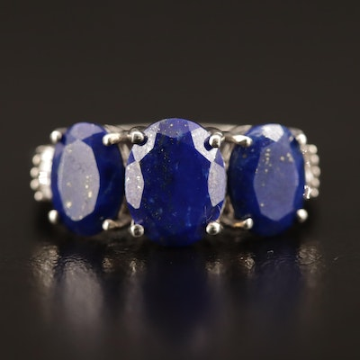 Sterling Lapis Lazuli and Diamond Ring