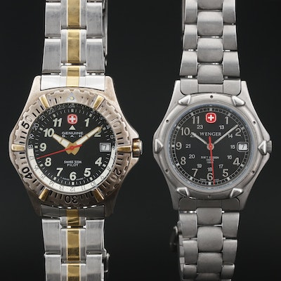 Wenger SMT Design and Genuine S.A.K. Pilot Quartz Wristwatches