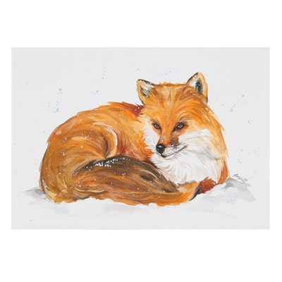 Anne Gorywine Watercolor Painting of Fox, 2020