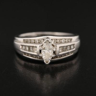 Platinum Diamond Cathedral Ring