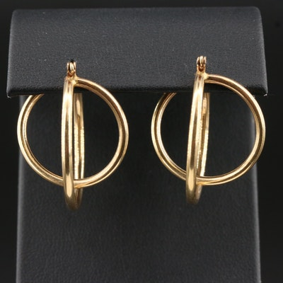 14K Cross Over Hoop Earrings