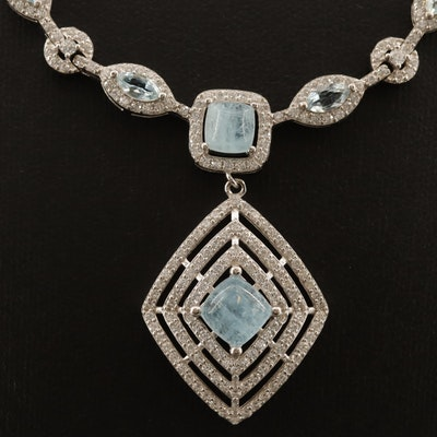 Sterling Aquamarine and Cubic Zirconia Drop Necklace