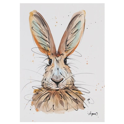 Anne Gorywine Watercolor Painting of Rabbit, 2020