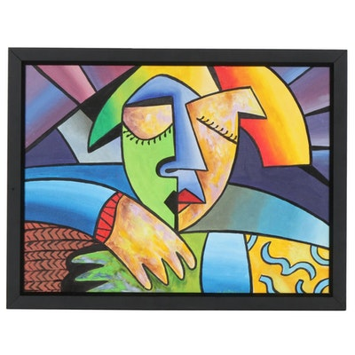 Cubist Style Acrylic Painting of Female Portrait