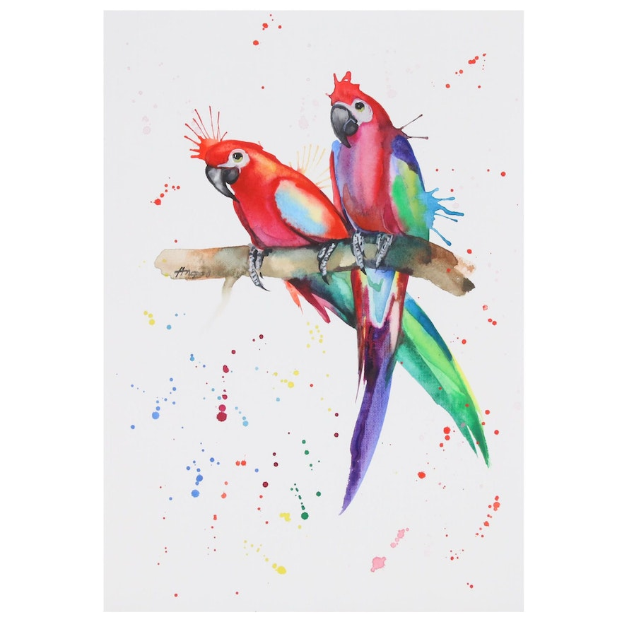 Anne Gorywine Watercolor Painting of Parrots, 2020