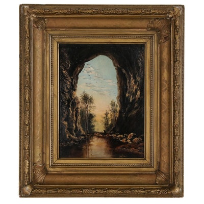 "Frank Henry Shapleigh Oil Painting After Harry Fenn ""Under the Natural Bridge"""