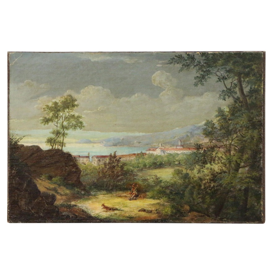 Southern European Coastal Landscape Oil Painting, Mid to Late 19th Century
