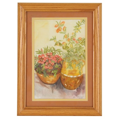 Still Life Watercolor Painting of Potted Plants, 2001