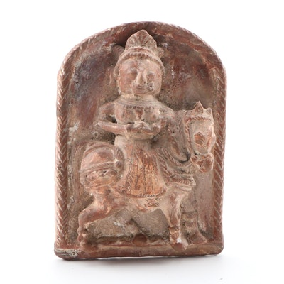 Carved Terracotta Bas Relief of Prince Siddhartha as Future Buddha Figure