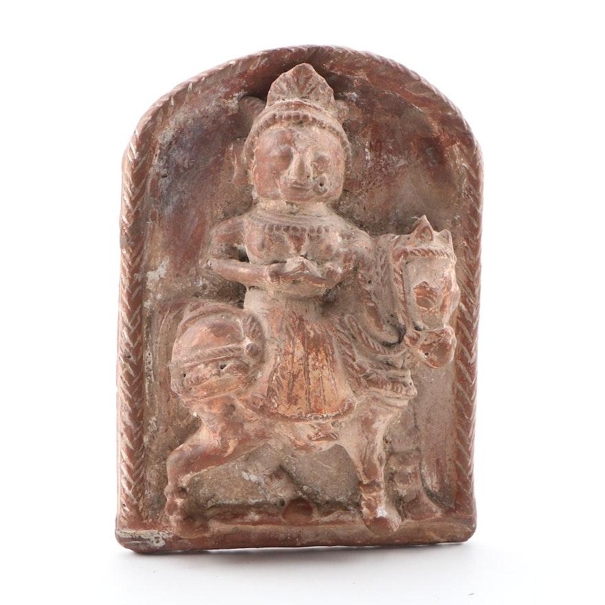 Carved Terracotta Bas Relief of Prince Siddhartha as Future Buddha Figure