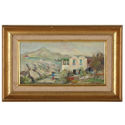 Oil Painting of Mountain Village Scene