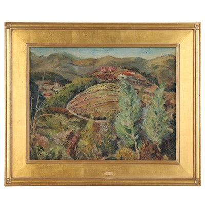 Levitt Purdy Oil Painting of Countryside Landscape with Farm