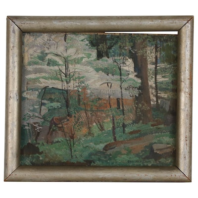 George Harding Landscape Oil Painting of Forest Interior