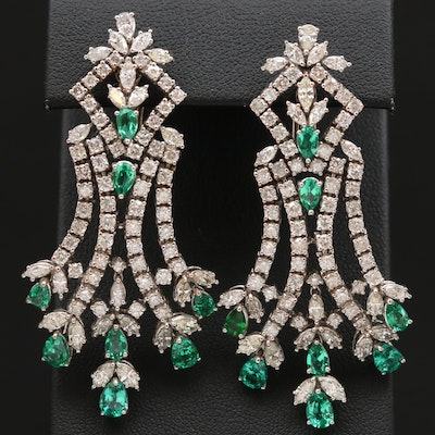 18K 8.27 CTW Diamond Chandelier Earrings with Green Glass Accents
