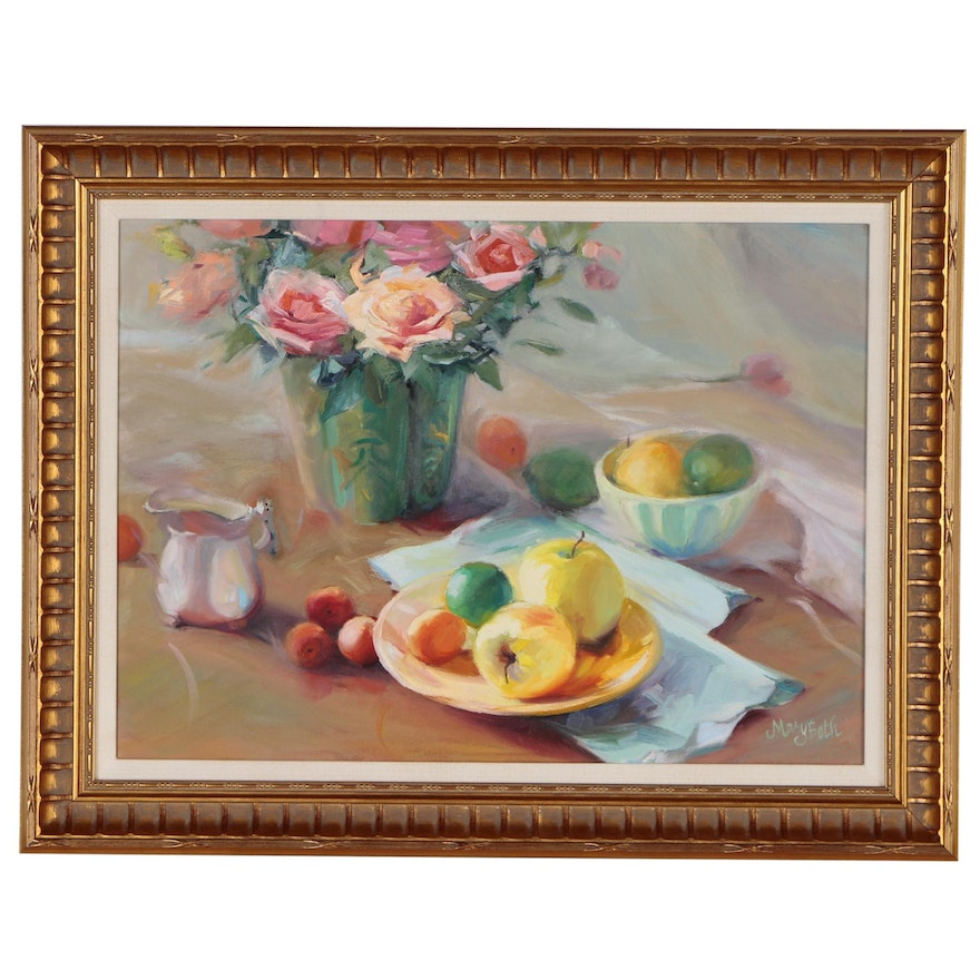 MaryBeth Karaus Still Life Oil Painting of Tablescape with Fruit and Flowers