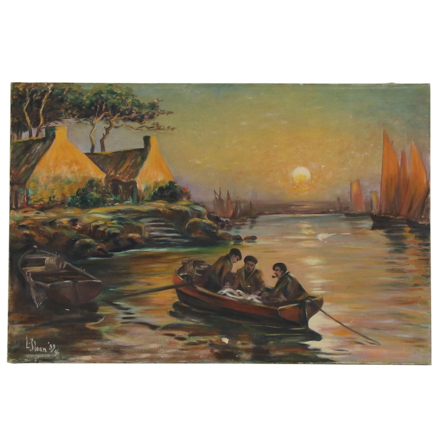 Oil Painting of Harbor Scene with Three Men in Fishing Boat, 1939
