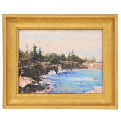 Wooded Lake Landscape Oil Painting