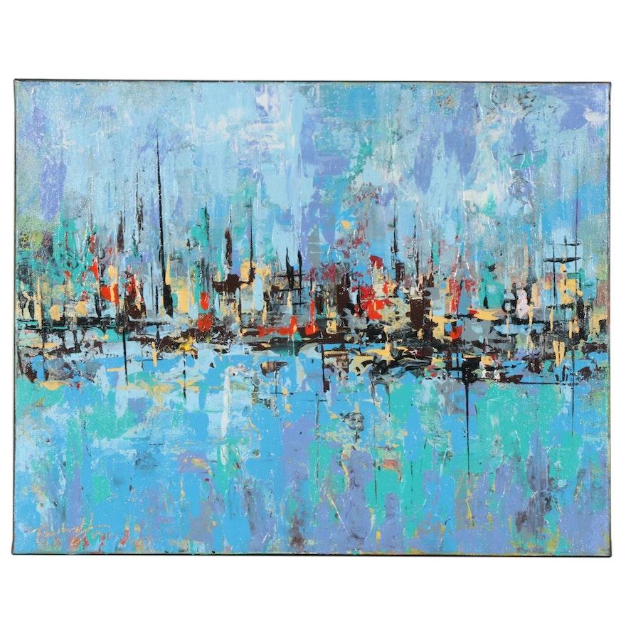 Farshad Lanjani Impressionist Style Acrylic Painting of Harbor Landscape, 2020
