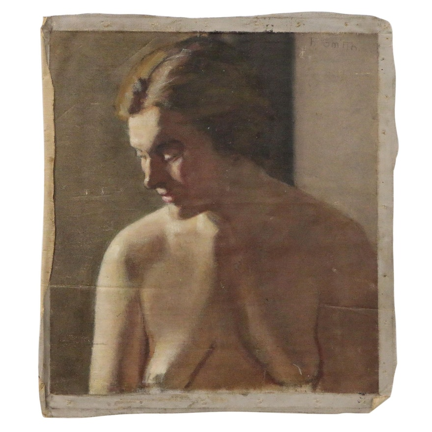 Portrait Oil Painting of Female Nude, 20th Century
