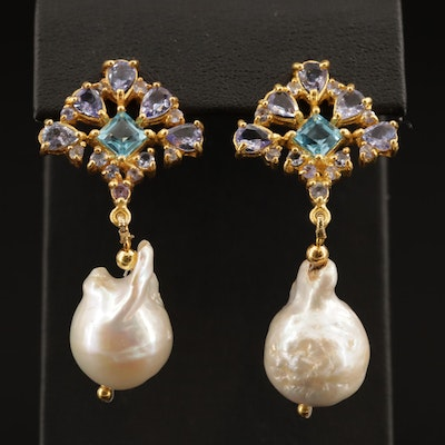 Sterling Silver Pearl, Swiss Blue Topaz, and Amethyst Drop Earrings