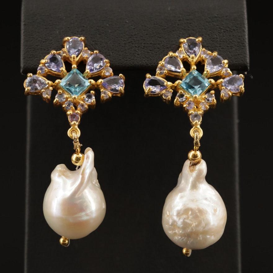 Sterling Silver Pearl, Swiss Blue Topaz, and Amethyst Drop Earrings