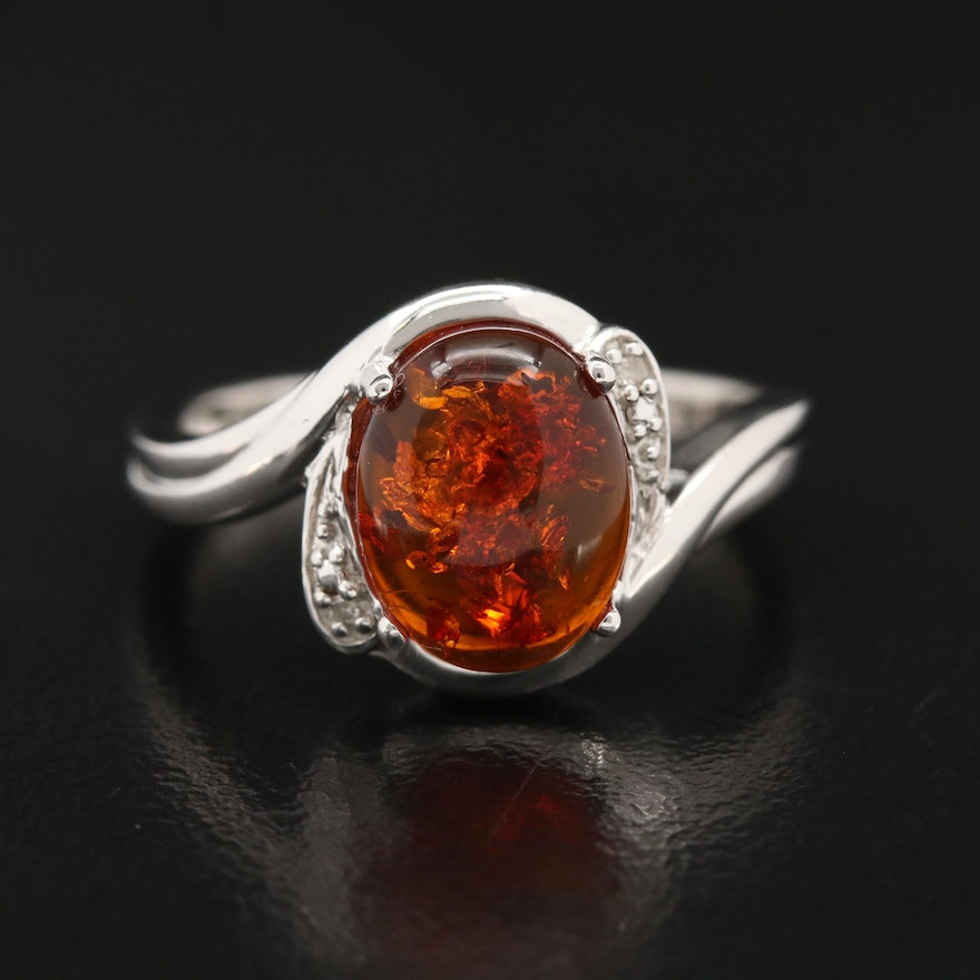 Sterling Silver Amber and Diamond Ring