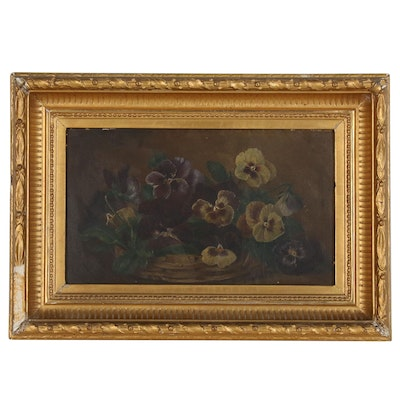 Oil Painting of Pansies, Mid to Late 19th Century