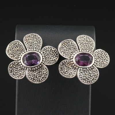 Sterling Glass and Marcasite Flower Clip-On Earrings