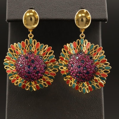 Sterling Silver Pavé Set Ruby, Cubic Zirconia and Enamel Flower Earrings