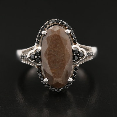 Sterling Labradorite and Cubic Zirconia Ring with Scroll Detail