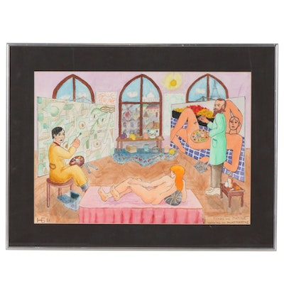 """Folk Art Mixed Media Painting """"Picasso and Matisse Working on Montmartre"""", 2001"""