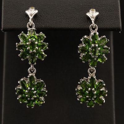 Sterling Silver Diopside and Sapphire Flower Motif Dangle Earrings