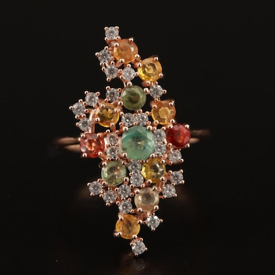 Sterling Silver Emerald and Sapphire Cluster Ring