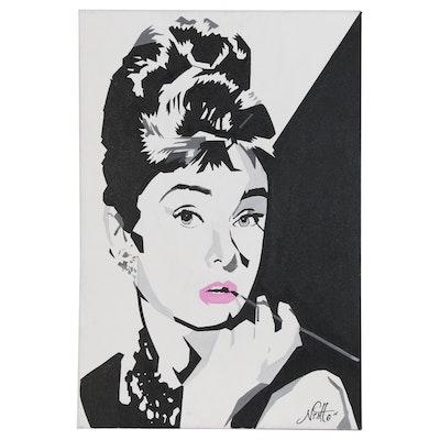 Stylized Portrait Acrylic Painting of Audrey Hepburn