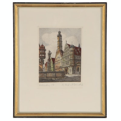 Hand-Colored Etching of St. George's Fountain, Rothenburg