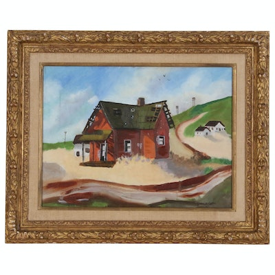 Shannon Oddis Oil Painting of Dilapidated Farmhouse, Mid to Late 20th Century