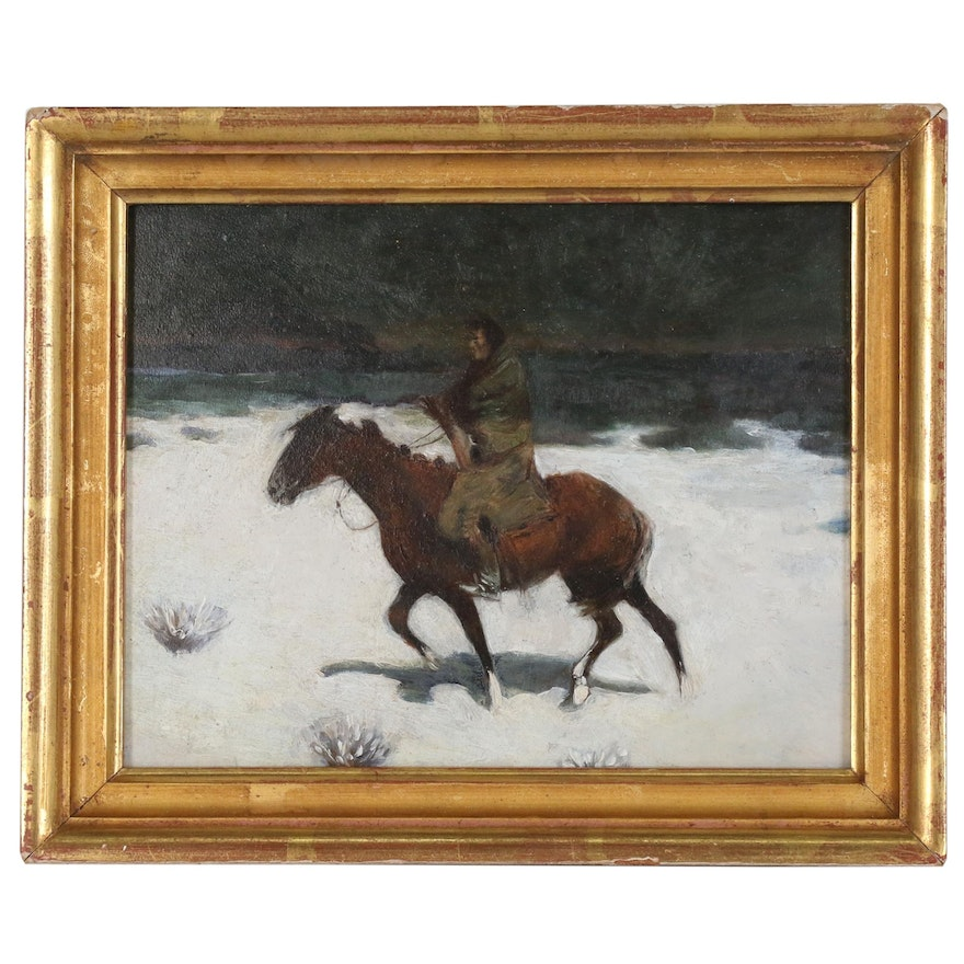 """Oil Painting After Frederic Remington """"The Luckless Hunter"""""""