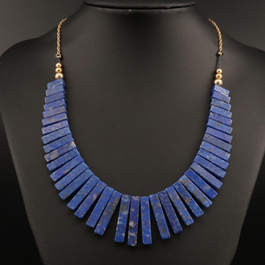14K Graduated Bead, Lapis Lazuli Fringe Necklace