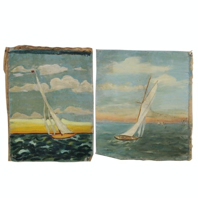 Nautical Oil Paintings of Sailboats, 20th Century