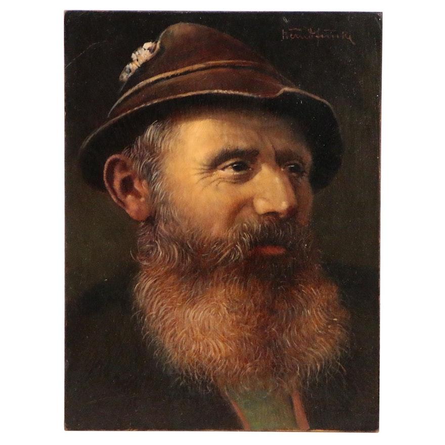 Bernd Funke Oil Painting Portrait of a Bearded Man, Mid-Late 20th Century